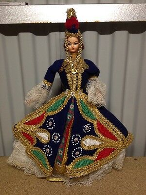 Vintage Mid Century Mongolian Turkish Russian Dressed Pvc Doll Ornate Embroidery