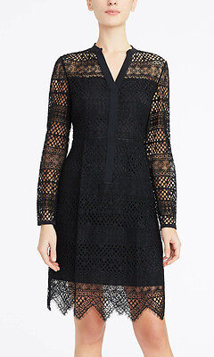 ca33e1980a03 ELIE TAHARI 'Whitney'~ Black Geo Lace Overlay Illusion Party Dress 4 ...