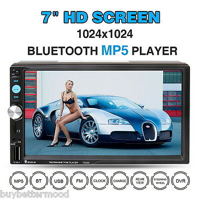 "7"" Touch HD Car Stereo 2 DIN Radio Bluetooth Player FM MP5 USB TF AUX Rear View"