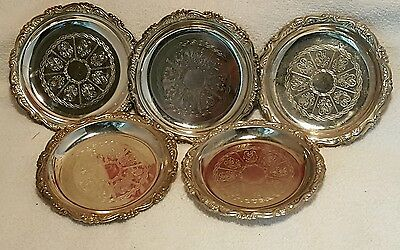 Vintage  Silver Plate Coasters Ornate, Scalloped edge.  Made In Italy Set of 4