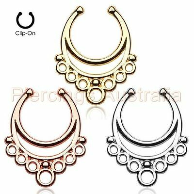 3 x Loop Non Piercing Clip On Fake Septum Nose Ring Hangers Bulk Pack