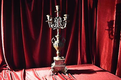 French Spelter Candelabra on a Red Marble Base
