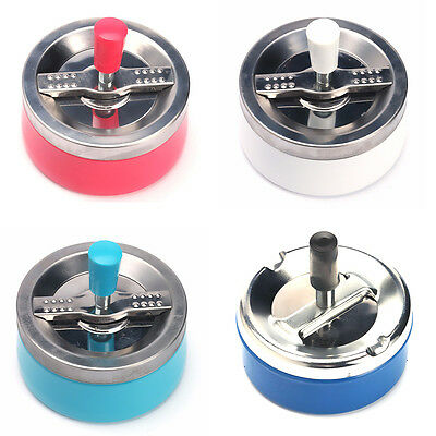 Ashtray Spinning Plain Cigarette Ash Tray Push Down Lid Smoking Metal Ashtray