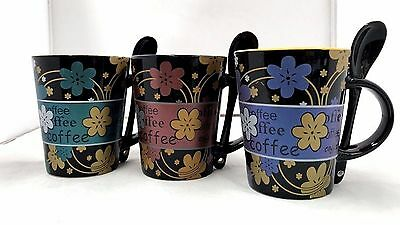 3 Tea Cup Mug Ceramic Coffee Mugs Set with Spoons Kitchen Office Gift 300ml