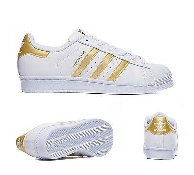 Junior Adidas Superstar Foundation White/Gold Trainers RRP £49.99