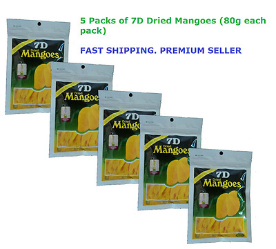 5 packs of 7D Dried Mango Philippines Mangoes (5 x 80g)