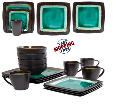 Gibson Everyday Ocean Oasis 16-Piece Dinnerware Set, Turquoise Top ...
