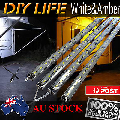 12V Waterproof Amber Cool White Led Strip Lights Bars Camping Caravan Boat Car