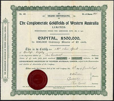 Conglomerate Goldfields of Western Australia Ltd., £1 shares, 1901