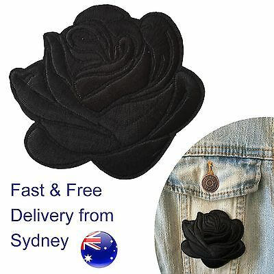 Black rose head Iron on patch - elegant love flower blossom embroidery
