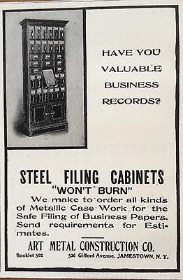 1904 Ad(F20)~Art Metal Construction Co. Jamestown, Ny. Steel Filing Cabinet