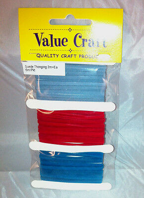 3mm Leather Suede Thonging Lacing Denim/Red/Royal- 2m of each colour
