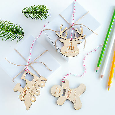 Kids Personalised Wooden Gift Tags, Christmas Tag (OHSO754)