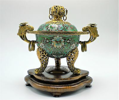 Chinese Cloisonne Covered Censer With  Wood Stand