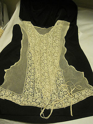 Vintage Edwardian CHAMPAGNE NET & LACE CAMISOLE Corset Cover -Price REDUCED!