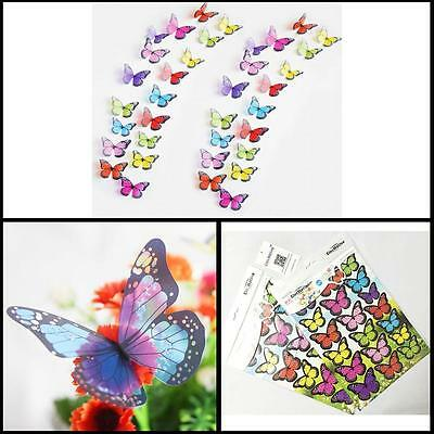 3D Butterfly Wall Mount Stickers and Magnetic Decals Home Room Decor 36 PCS New
