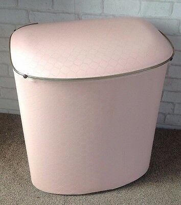 Vintage 1960's Baby Pink Plastic Covered Laundry Bin Storage Box Seat