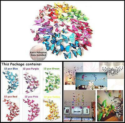 72 Pcs 3D Butterfly Wall Mount Stickers and Magnetic Decals Home Room Decor Set