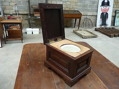 Vintage Antique Edwardian Wooden Commode Stool Box Storage Children Toilet potti