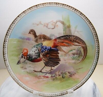 1883-1914 Imperial Crown China Hand Painted Pheasant Plate Made In Austria