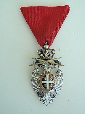 Serbia White Eagle Order With Swords 4Th Class Rare!