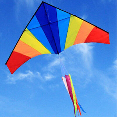 Kite 1.8M Rainbow Color outdoor sport toy fun stunt gift Tail 200M line 95006002