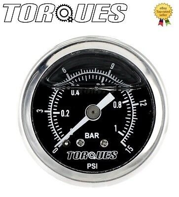 "Torques Analog Fuel Pressure Gauge 1/8"" NPT Black Back Fed 0-1 BAR / 0-15 PSI"