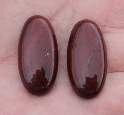 Cabochons Jaspe rouge-brique, lot de 2