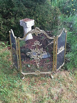 Vintage BRASS ROCOCO Old TORCH Folding 3 Panel FIREPLACE Old Ormolu FIRE SCREEN