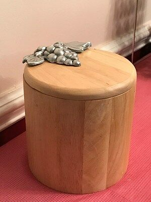 Wood Ice Bucket With Liner & Silver Grapes/leaves Ice Eclectic Cool