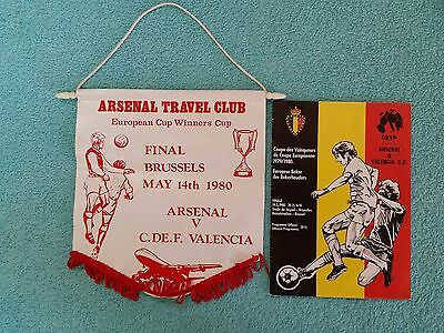 1980 - CUP WINNERS CUP FINAL PROGRAMME + PENNANT - ARSENAL v VALENCIA