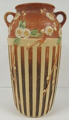 "Beautiful Roseville Pottery 627-12"" Brown Cherry Blossom Vase Minty C696"