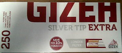 GIZEH Silver Tip Extra 250 Filter Tubes Longer Filter Save 10%Tobacco