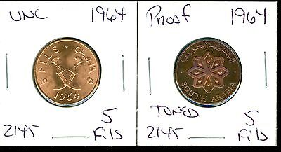 South Arabia - 1964 - 5 Fils - Uncirculated - 1964 - 5 Fils - Proof - 2 Coin Lot