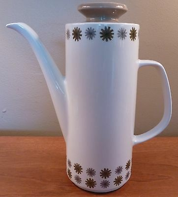 Mid-century Meakin ALLEGRO coffee pot, gray & green abstract flowers, tan lid