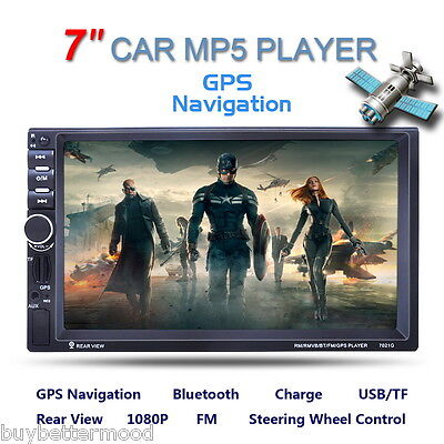 "7"" Touch HD Car 2 DIN MP5 Bluetooth Radio Player GPS Rear View AUX-IN FM USB SD"