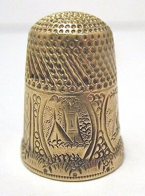 "Victorian 14K Gold Thimble Multiple Engravings Initials ""abh"""