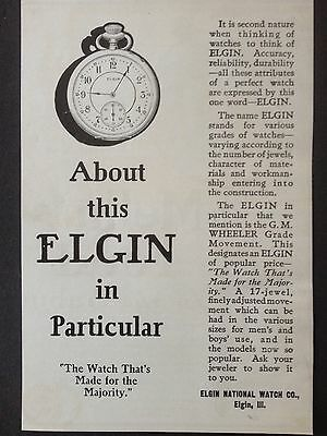 Antique 1907 Ad {E23}~Elgin National Watch Co. Elgin, Ill.