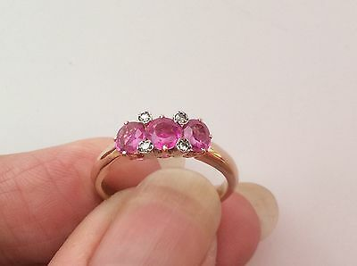 BEAUTIFUL 14/15ct ROSE GOLD PINK SAPPHIRE AND DIAMOND VIC/DECO RING SIZE O 1/2