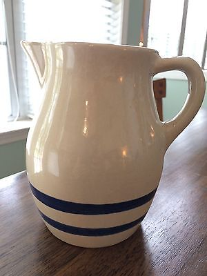 """R.R.P. Co. Roseville OH Blue Stripe Stoneware Pitcher USA ~ 6"""" Tall"""