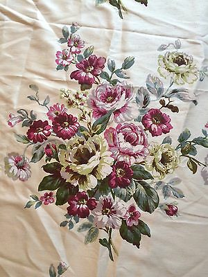 Vintage French? Fabric Panel Remnant Floral Silk Home Furnishings Antique Chintz