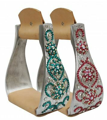 Showman Wide Aluminum Western Stirrups with Colored Crystal Rhinestones