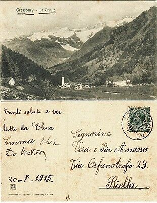 G414-Gressoney, La Trinite', Aosta Per Biella, 1915
