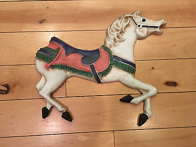 "Vintage Cast Metal Carousel Horse Wall Garden Décor Hanging Plaque Painted 18"" W"
