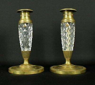 Pair Of French Bronze And Cut Glass Candlesticks