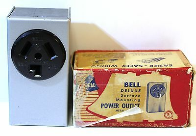 Vintage NOS Surface Mounting Metal Housing Power Outlet COVER BELL Deluxe 161-A