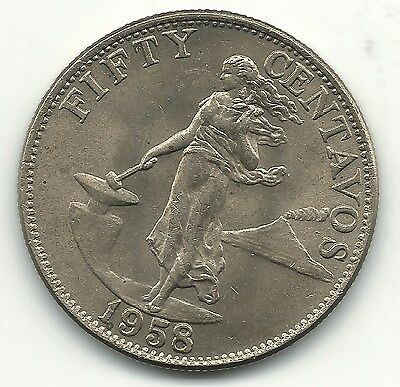 A High Grade Unc 1958 Us Philippines Silver 50 Centavos Coin-Jul240