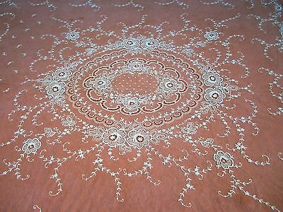 "Antique Tambour Embroidered French Net Lace Coverlet 100"" x 80"""