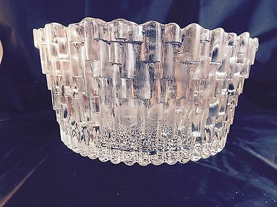 "Rare 10 "" Pilgrim Glass Factory Shake Shingle Serving Bowl Large Heavy Ice-like"