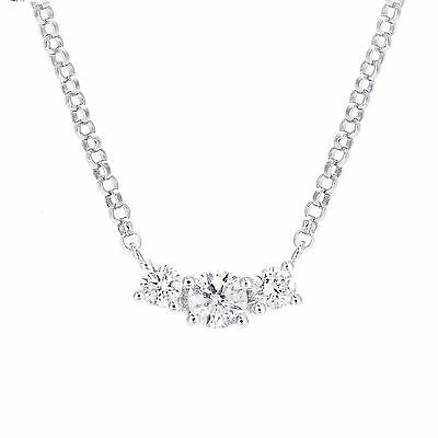White gold trilogy diamond necklace 15000 picclick uk revoni round natural diamond trilogy pendant necklace 18ct white gold 40 cm audiocablefo